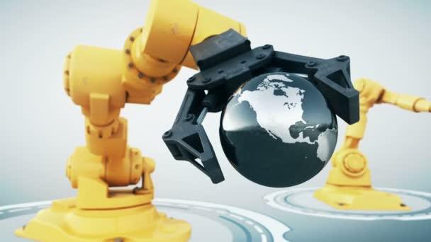 Robotické rameno s kovovým zeměkoule
