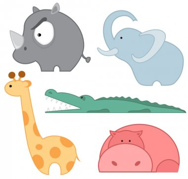 Zoo animals icon set