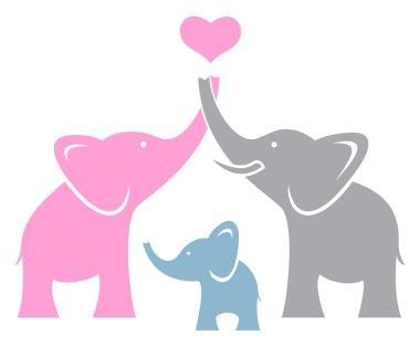 Elephant family. Symbol or logo