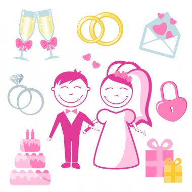 Vector set of wedding and love icons