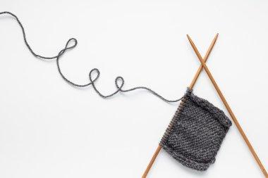 Piece of grey knitting