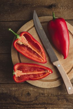 Still life of sweet red peppers
