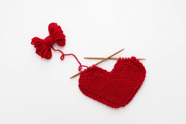 Knitted heart shape