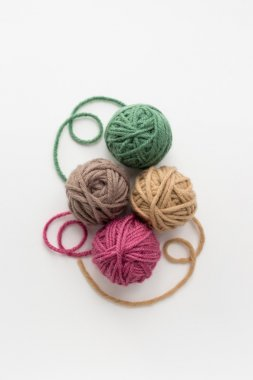 multicolor balls of yarn