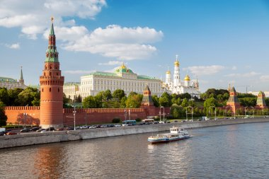 Cathedrals and quay Moskva River