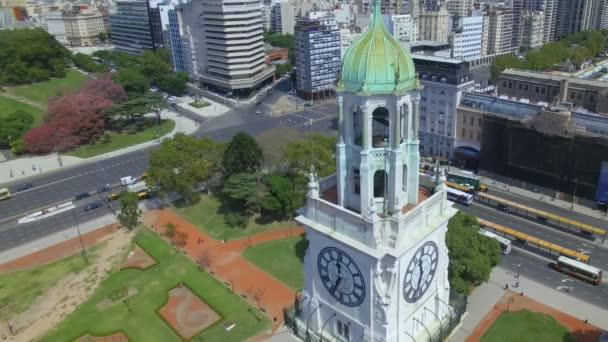 Argentina Buenos Aires flying with drone over Torre de los Ingleses at Retiro HD
