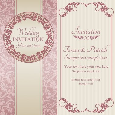 Baroque wedding invitation, pink and beige