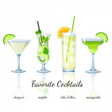 Favorite cocktails set, isolated