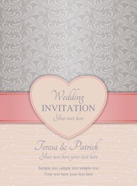 Modern wedding invitation, pink and silver
