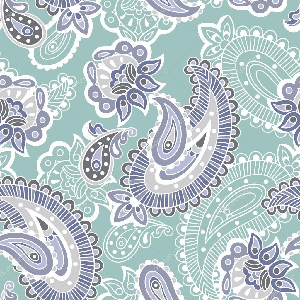 Turkish cucumber seamless pattern, blue style