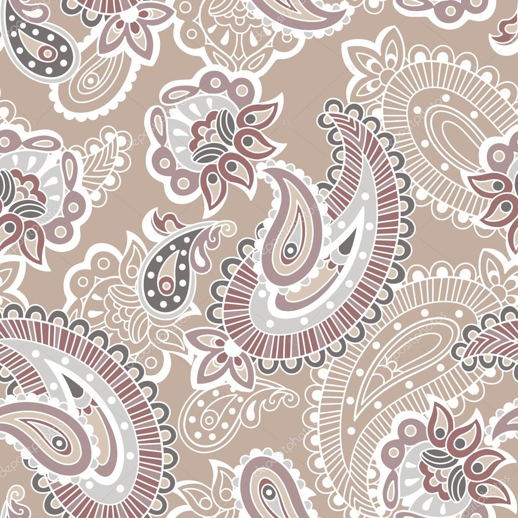 Turkish cucumber seamless pattern, beige style