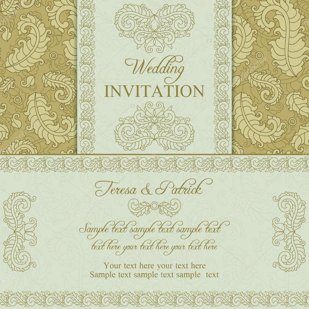 Einladung Zur Hochzeit In Gold Und Beige Stil U2014 Stockvektor