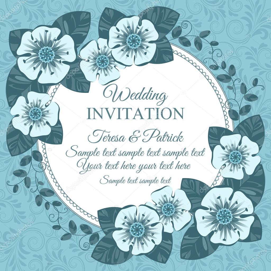 Tarjeta De Invitación De Boda Vintage Azul Vector De