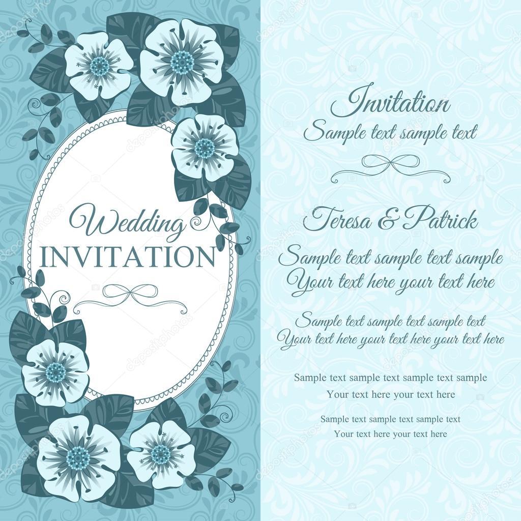 Vintage Hochzeit Einladungskarte Blau Stockvektor C D Naya 68895009
