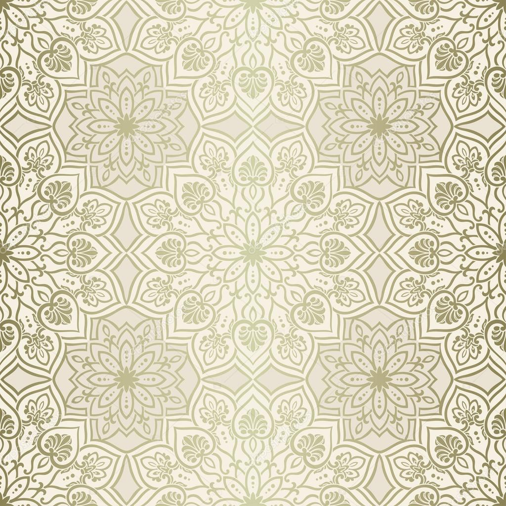 Mandala geometric pattern, gold and beige