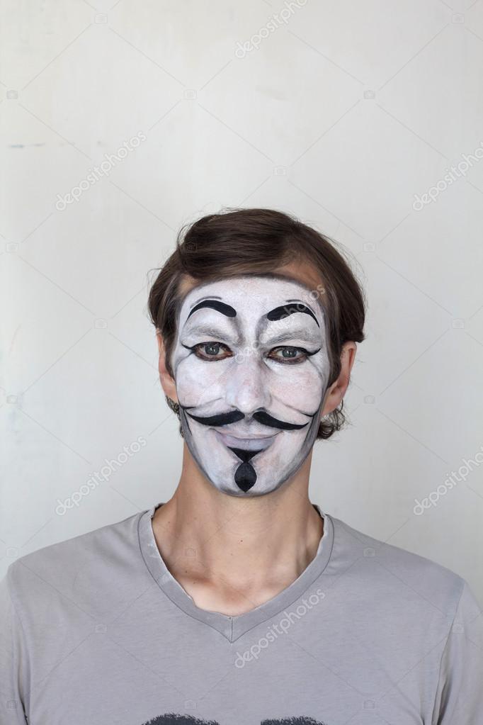 V Maske Yüz Boyama Stok Editoryel Fotoğraf Nikolastilist 78773570