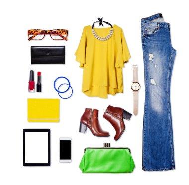 Overhead of essentials elegant woman.