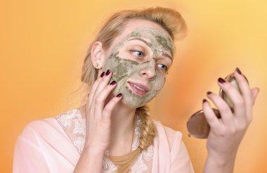 Girl puts facials