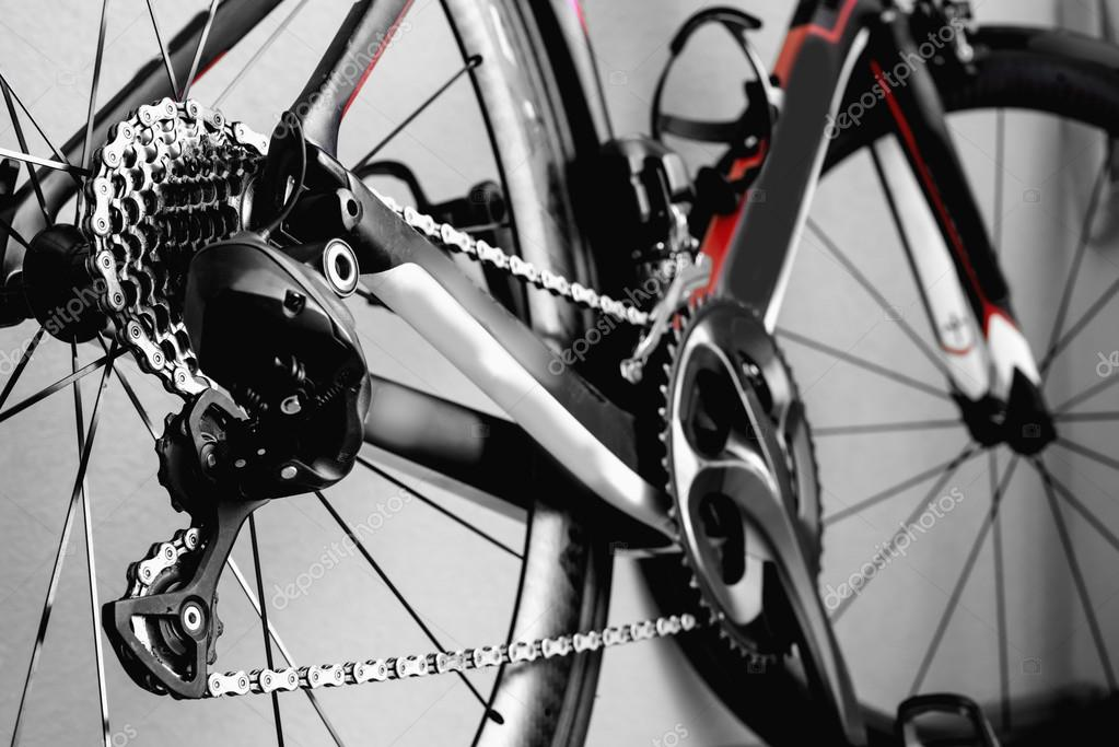 marco de la rueda de cadena de bicicleta de detalles — Foto de stock ...