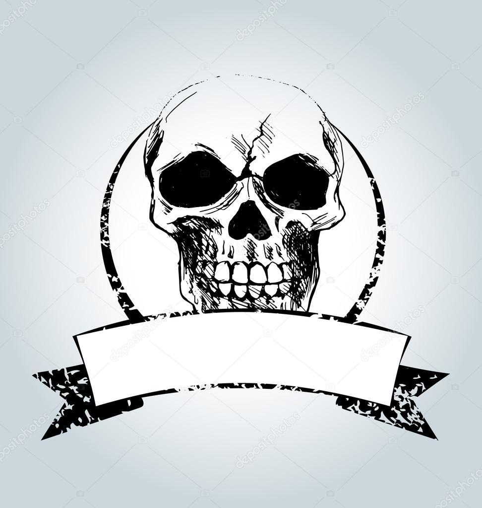 Vektor-Jahrgang-Etikett mit Schädel — Stockvektor © onot #107430438
