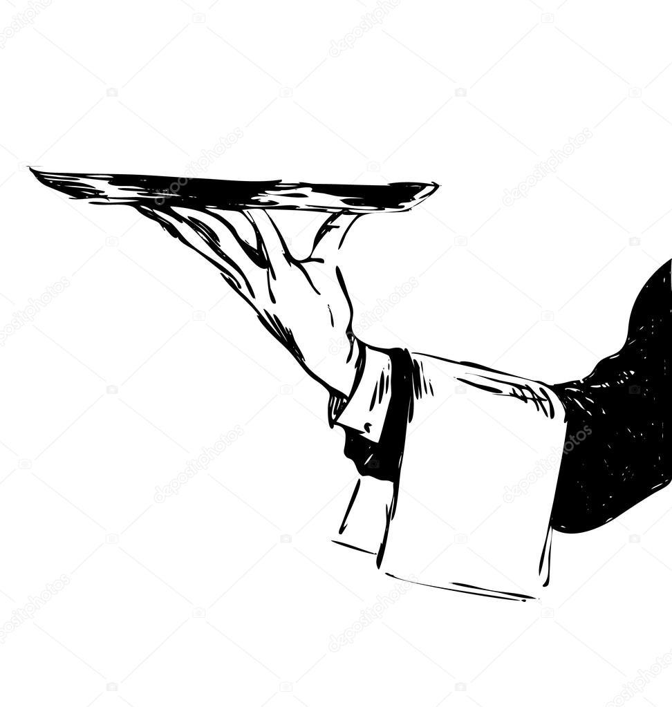 Рисунок официанта карандашом с подносом