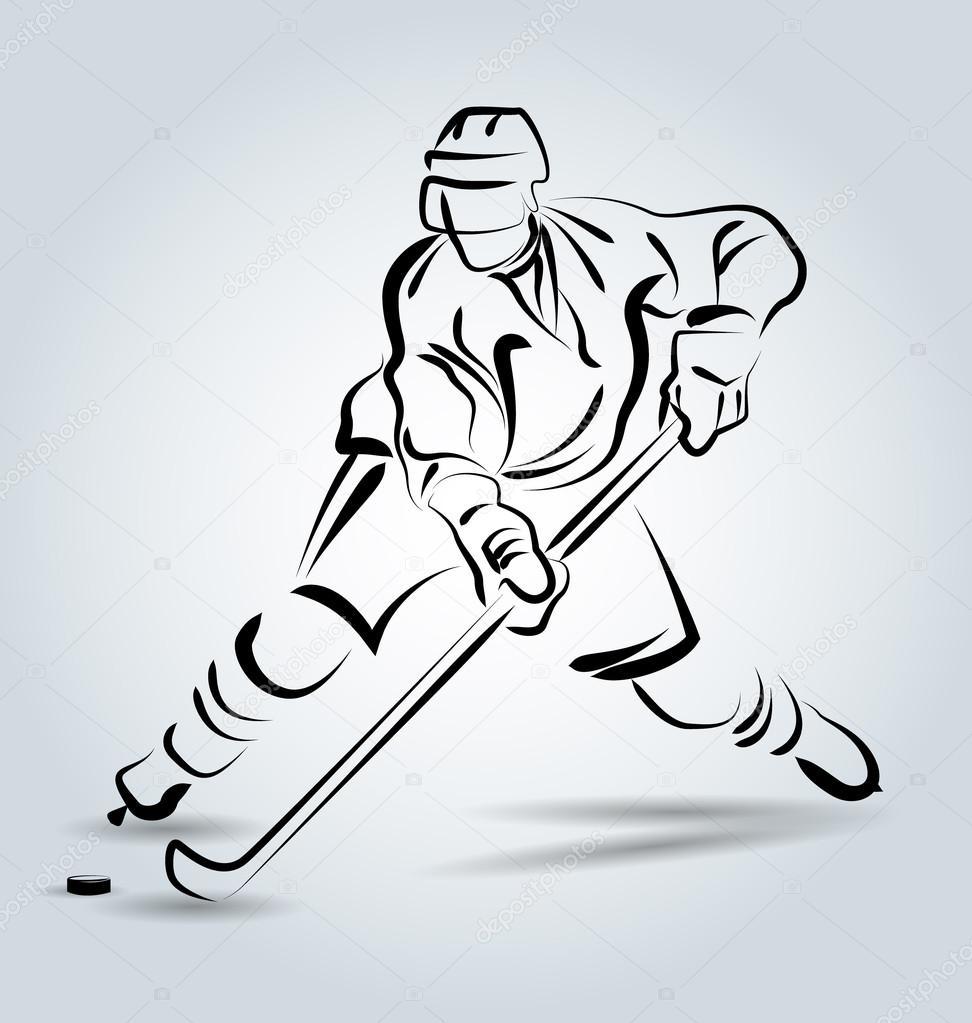 Jugador de hockey vector línea sketch — Archivo Imágenes Vectoriales ...