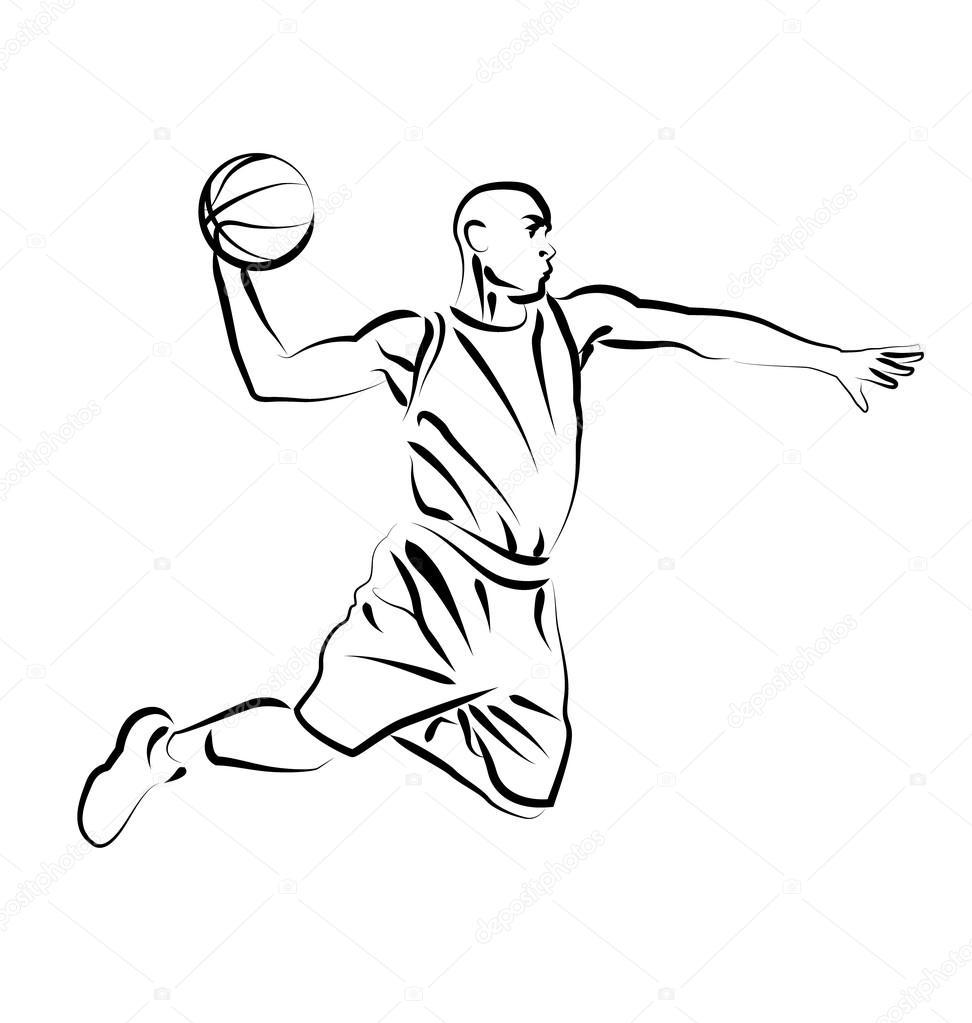 Line Drawing Basketball : Vector line sketch basketball player — stock onot