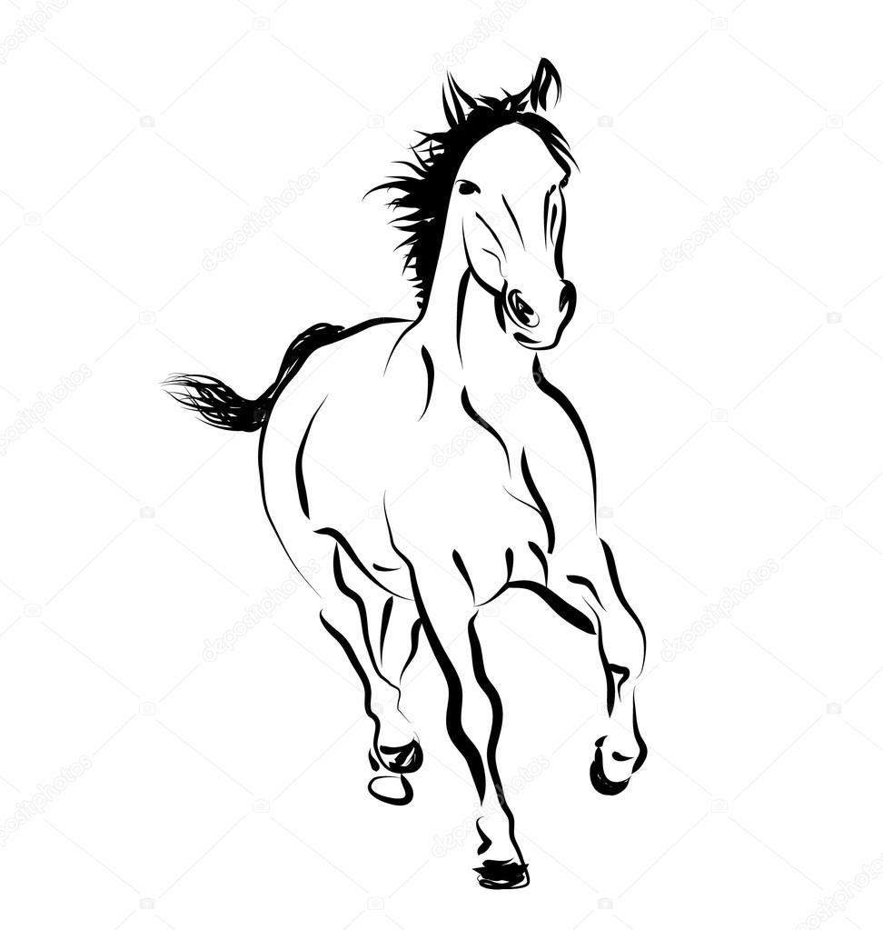 Vector Line Sketch Of A Running Horse Stock Vector C Onot 112718700