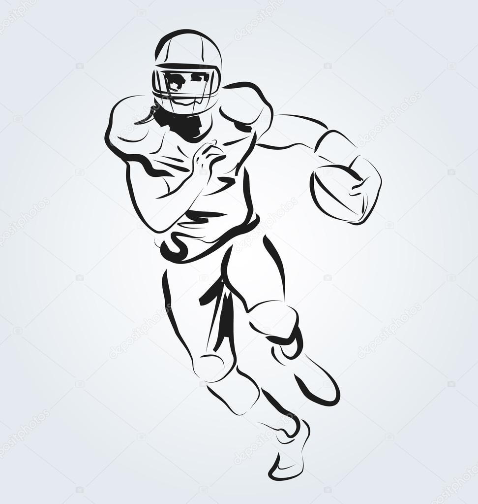 Vektor linienskizze der american football spieler vektor von
