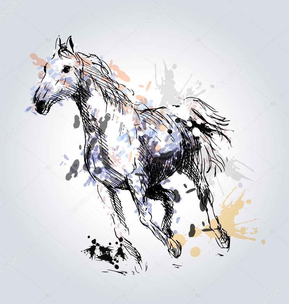 T te de cheval dessin couleur main image vectorielle - Dessin tete de cheval ...