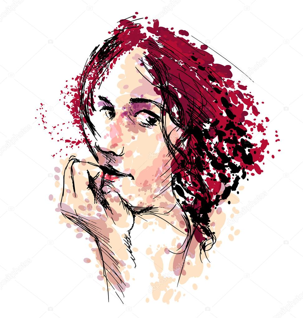 colored hand drawing a woman s head stock vector onot 117756984