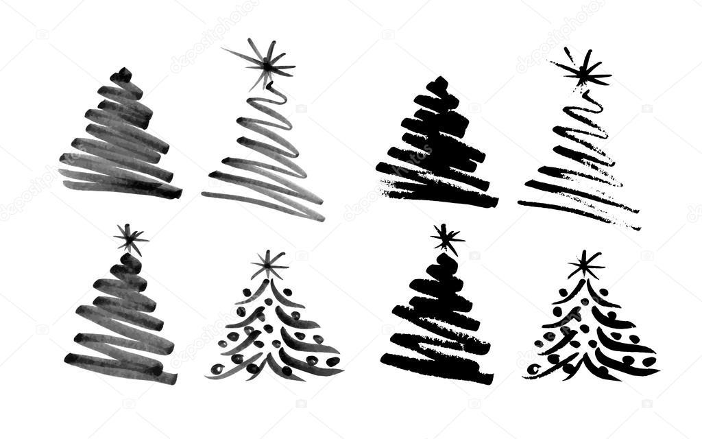dibujo rbol de navidad de la mano vector de stock - Dibujo Arbol De Navidad