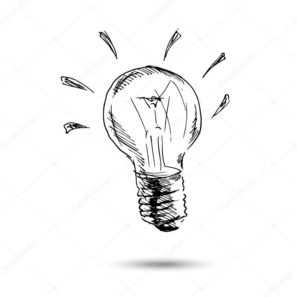 Ampoule Dessin ampoule dessin de main — image vectorielle onot © #62423045