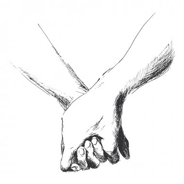 Hand sketch holding hands