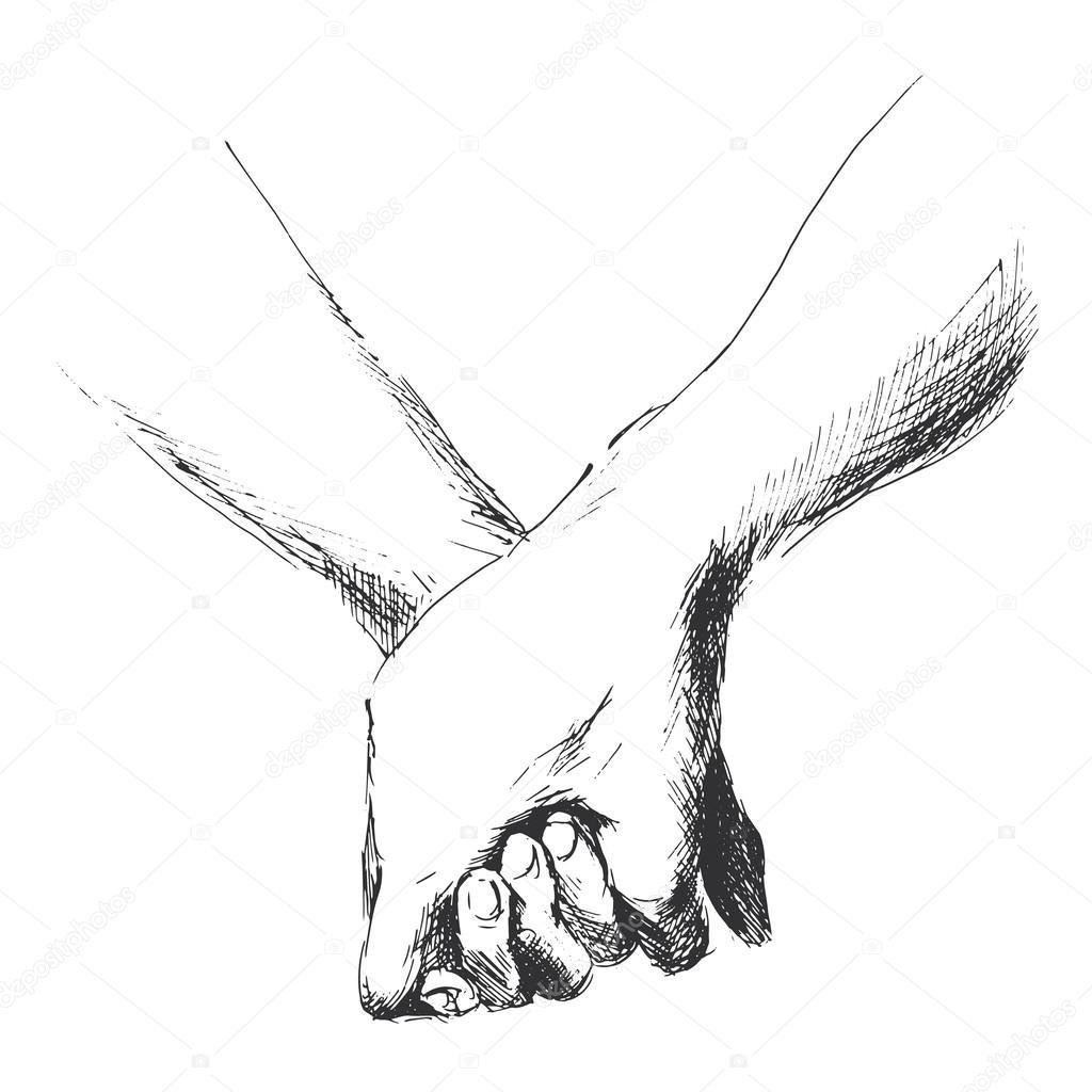 Hand sketch holding hands stock vector