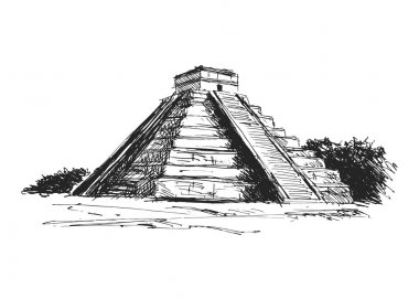 Hand drawing maya pyramid
