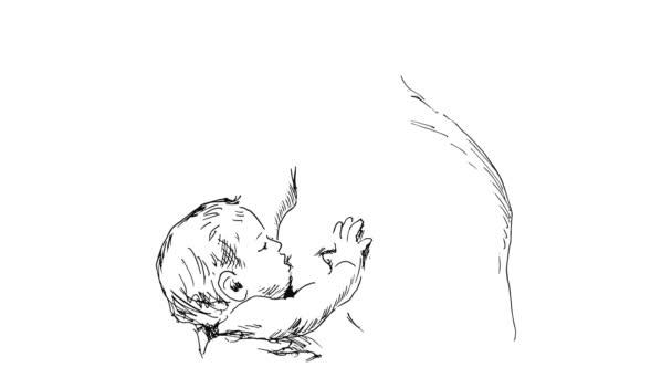 animace kreslení matku kojící dítě