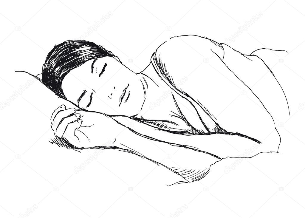 Sketch of a sleeping woman