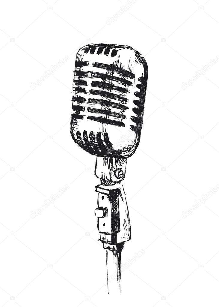 Dibujos Microfono Antiguo Antiguo Micrófono De Mano