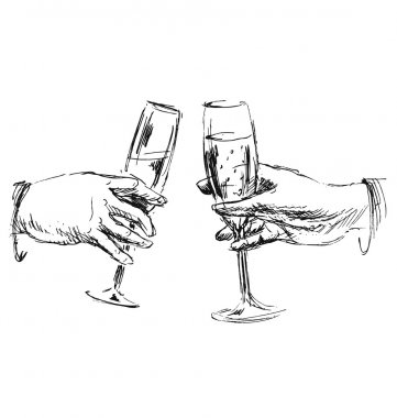Hand sketch hands with glasses