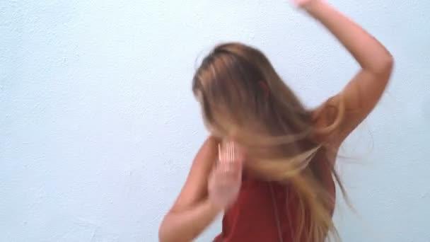 Beautiful boho fashion girl dancing