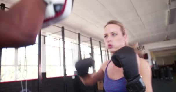 Boxer girl punching with her sparring partner