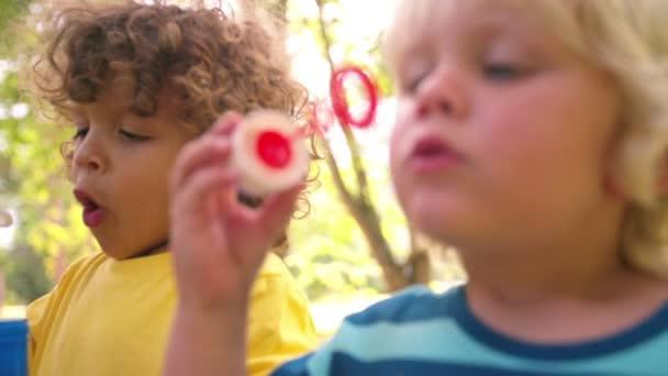 Kids blowing bubbles in a park