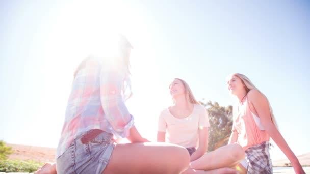 Teen dívky mluví na molo u jezera