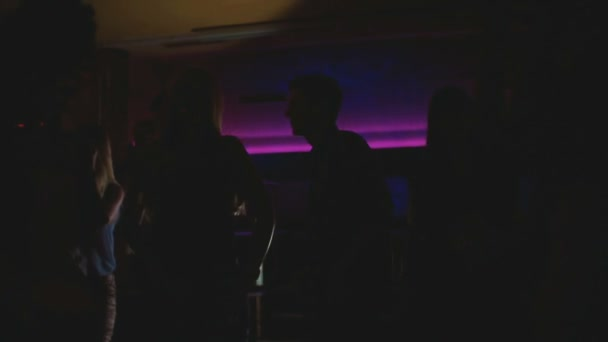 Silhouettes of party crowd in Night Club
