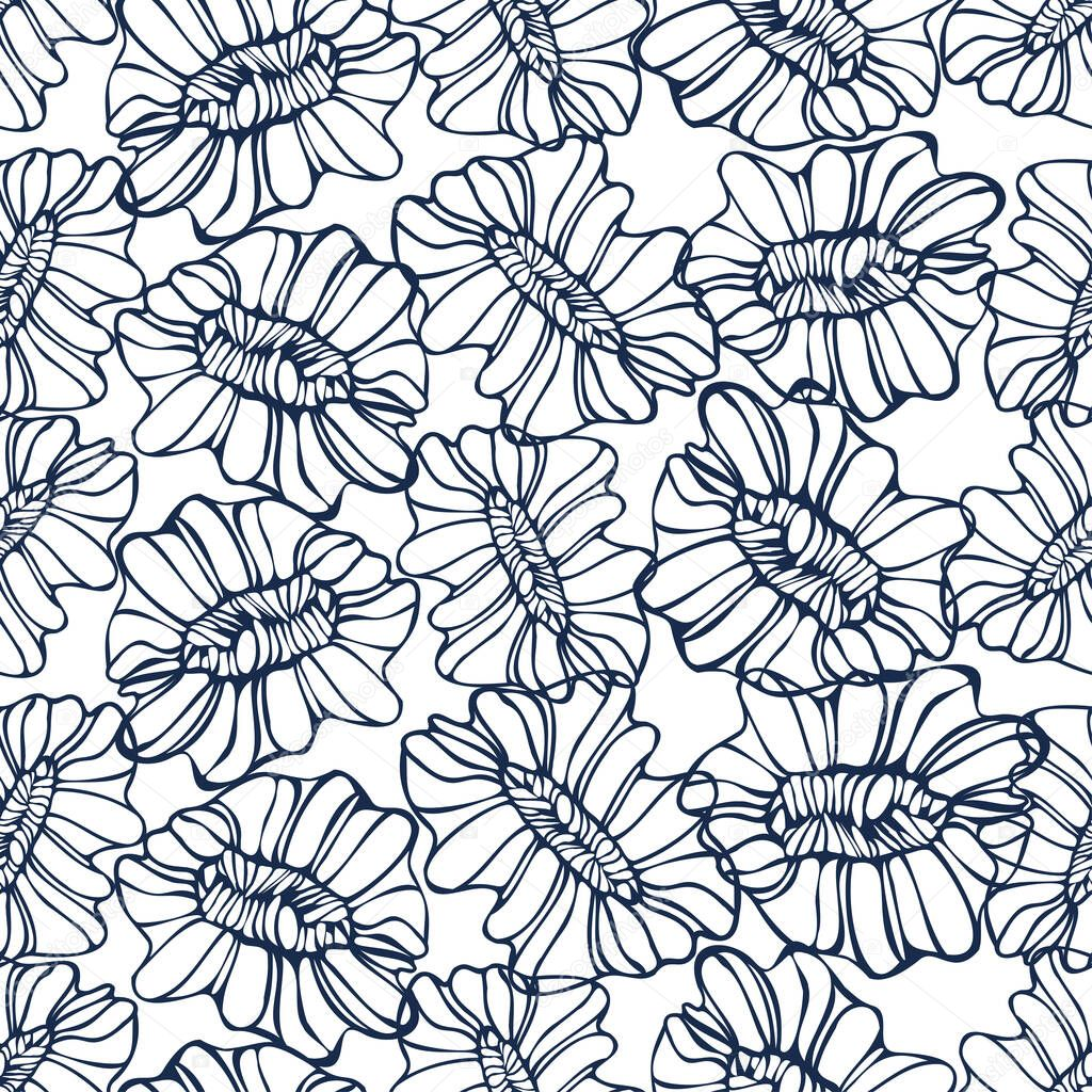 Vector seamless black and white pattern of ornamental abstract lined flowers ornament icon