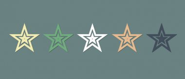 Multicolored star icons set. Illustration for decoration. icon