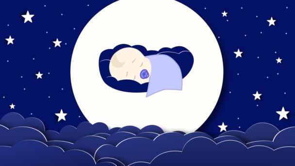 2d Animation eines Jungen, der in blauen Farben schläft. Mond, Wolken und Sterne am dunklen Himmel