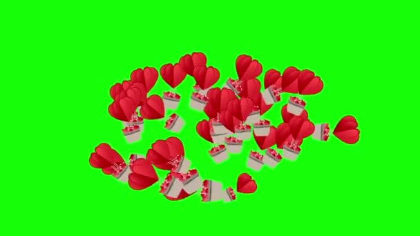 Hot air balloon with hearts fly upwards on a green screen. Transparent love valentine romantic background animation up