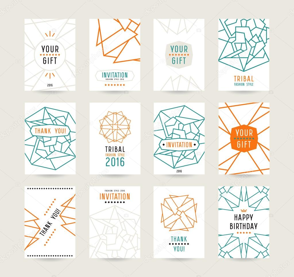 set of vector poster templates with geometric drawing stock vector